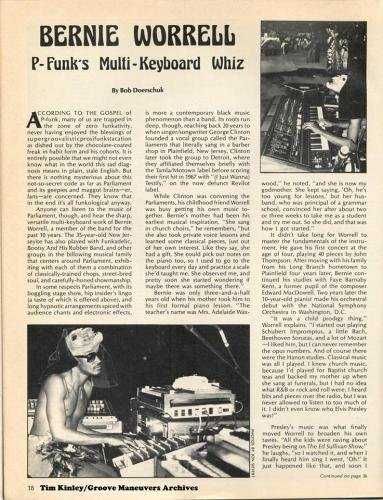 Bernie Worrell - Contemporary Keyboard Magazine September 1978