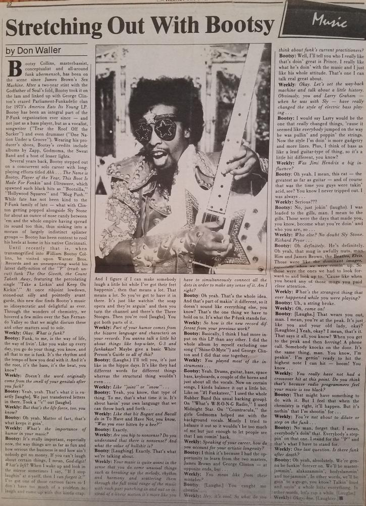 Bootsy LA Weekly July 1982
