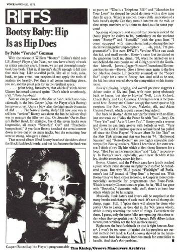 Bootsy- Village Voice March 20 1978